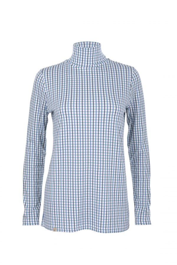 blue tattersall polo neck