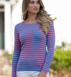stripe tee shirt, bamboo tee shirt, clothing for Eczema sufferers, flattering tee shirt,