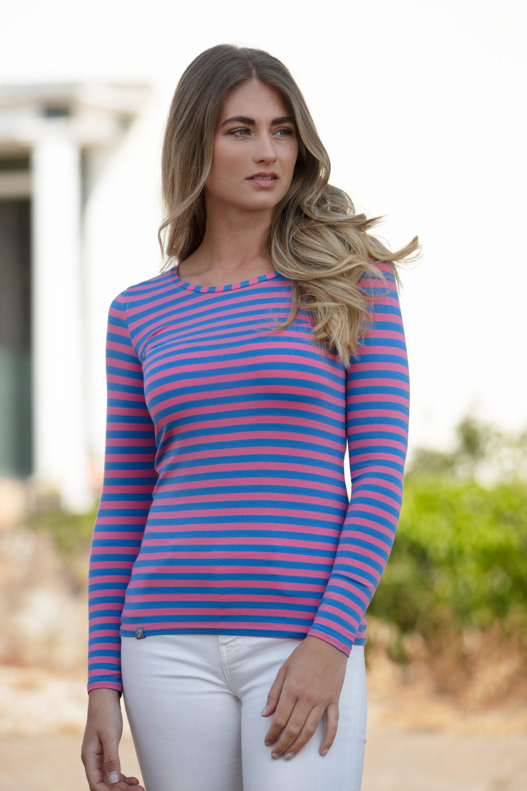 stripe tee shirt, bamboo tee shirt, clothing for Eczema sufferers, flattering tee shirt,