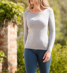 Bamboo top, bamboo clothing, plain grey tee shirt, grey tee, sustainable UK clothing, british sustainable clothing, good base layers,