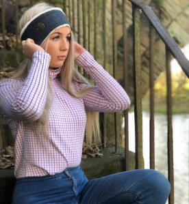 pink check polo neck country girl