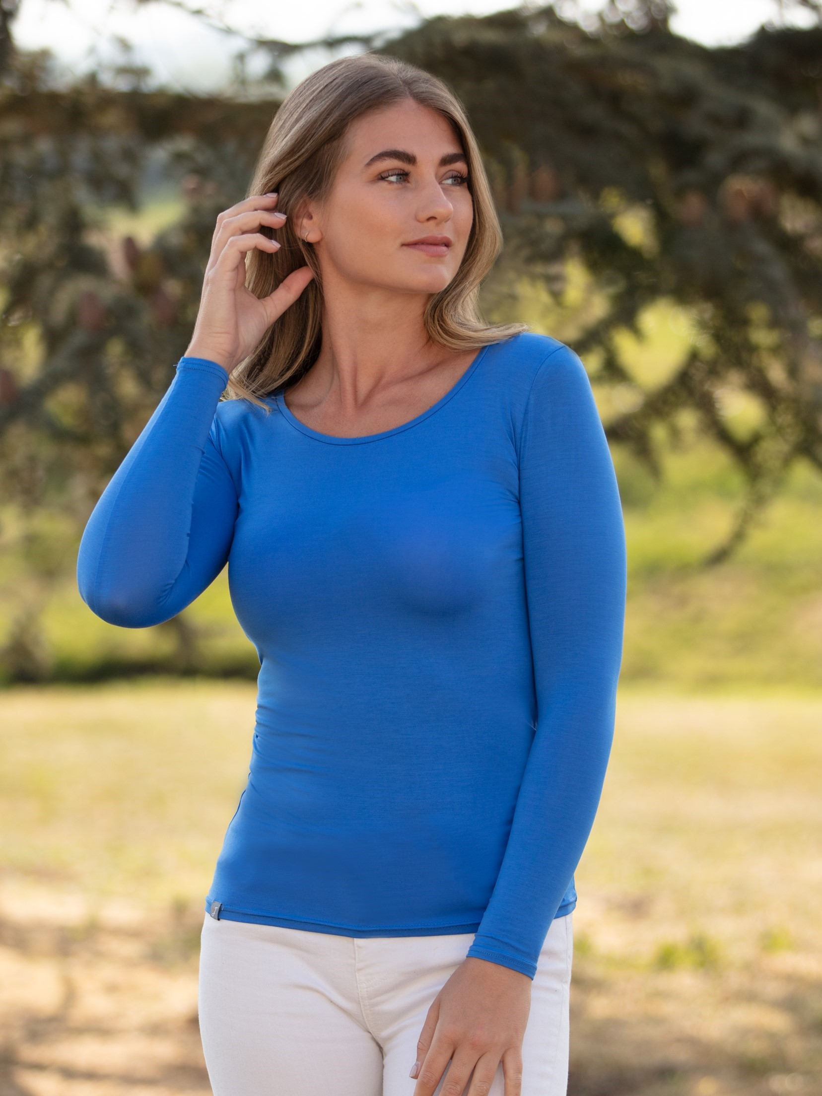 bamboo scoop neck t shirt blue