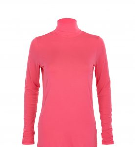 pink bamboo polo neck