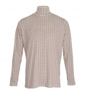 mens check polo neck