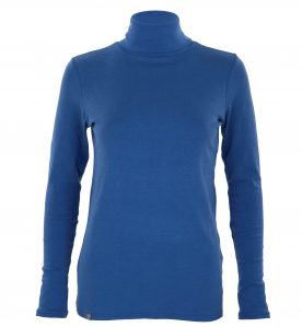 blue polo neck jump made from bamboo