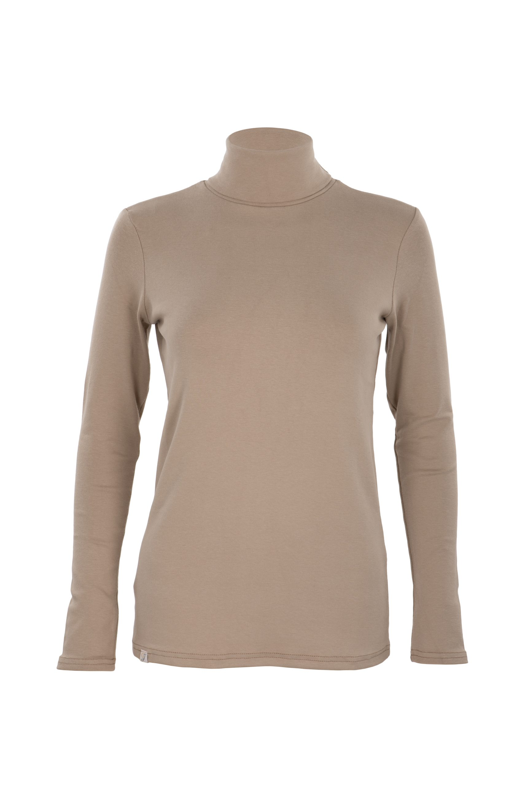 sustainable country clothing - camel roll neck