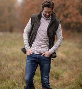 tattersall check mens polo neck jumper